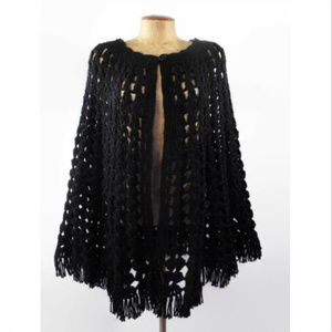VTG 60'S-70'S Boho Hippie Black Knitted Cape S M L